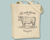 French Vintage Boucherie Butcher La Vache Cow on Canvas Tote - Selection of sizes available, image in ANY COLOR