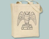 Harry Potter-esque Owl and Books vintage Illustration transferred onto Canvas Tote -- Selection of sizes available