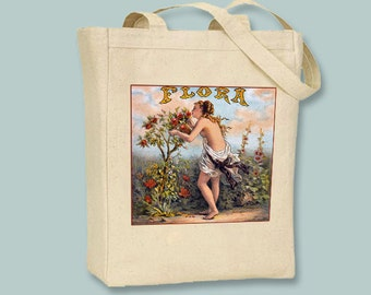 Beautiful Muse Flora Illustration Vintage Illustration on Natural or Black Canvas Tote  - Selection of sizes and personalziation available