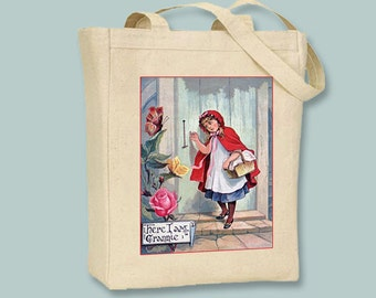 Vintage Little Red Riding Hood Here I am Grannie, Natural or Black Canvas Tote  - Selection of sizes available