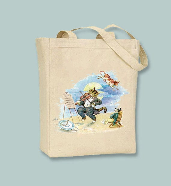 Hey Diddle Diddle Nursery Art Canvas Tote - Selection of sizes and personalization available