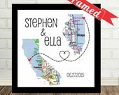 Wedding Gift Personalized Map Print FRAMED Unique Wedding Gift Any Location Available Long Distance Love Map Art Gift For Couple