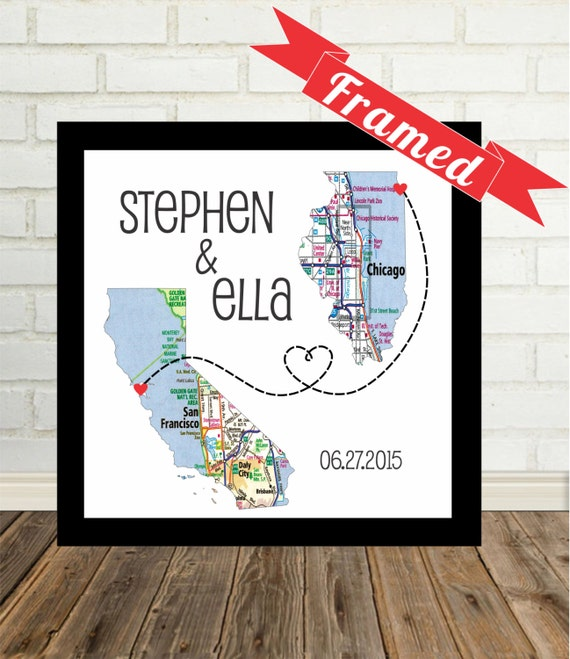 Wedding Gift Personalized Map Print FRAMED Unique Wedding Gift