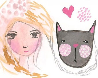 ACEO Original Black Cat And Girl, Best Friends, I Love My Cat, Cute Cat Illustration, Original aCEO, ATC, I Love My Cat
