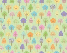 Flannel Multi Color Trees on Green F2078 by Doodlebug Designs for Alpine Fabrics 100% Cotton FLANNEL Quilt Apparel Craft Baby Nursery