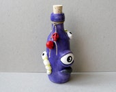 Mixed Media Altered Glass Bottle - Polymer Clay Sculpture - The Third Eye Potion - Halloween Decor - Witch's Kitchen Potion - OOAK