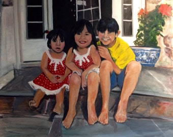Ana's Kids  Adorable Children in their New Home Painting of Children  Sold 4 x 4 feet Original Oil by Marlene Kurland in progress