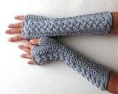 Braided Fingerless Gloves Gray Arm Warmers Wool Fingerless Mitts Winter Women Gloves Modern Cable Gloves Knit Braids Hand Warmers - KG0060