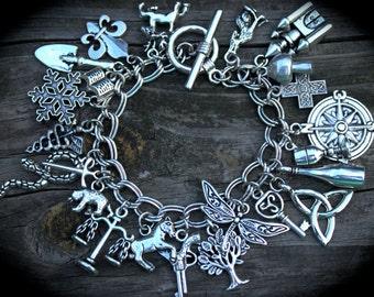 Scottish Highlander Themed Charm Bracelet - Celtic - Love - Romance - Book Inspired - Literary Charm Bracelet - Swag