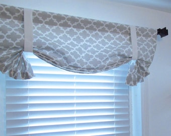 Quatrefoil Tie Up Valance  Lined  Curtain  French Gray/ Custom Sizing Available!