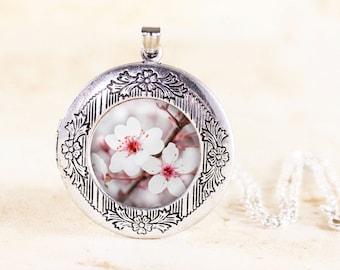 Cherry Blossom Locket - White Blossom Jewelry, Silver Flower Locket, White Flower Jewelry Locket, Spring Flower Photo Locket, Cottage Chic