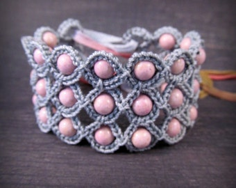 Crochet Jewelry, Bohemian Bracelet or Cuff, Soft Pink and Silver Greyshades - adjustable