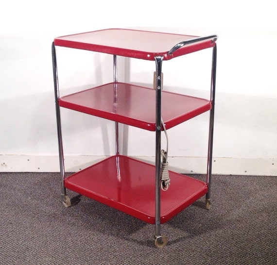 Deep Red Metal Kitchen Cart Vintage Rolling Kitchen Cart