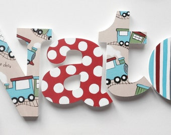 choochoo train themed wooden wall name letters hangings hand painted for boys rooms play rooms and nursery rooms