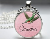 Grandma Hummingbird Round Pendant Necklace with Silver Ball or Snake Chain Necklace or Key Ring