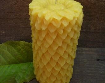100% Beeswax Sunflower Pillar Candle