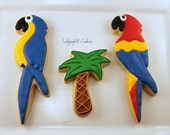 Parrot and palm tree cookies, 12 handmade & iced