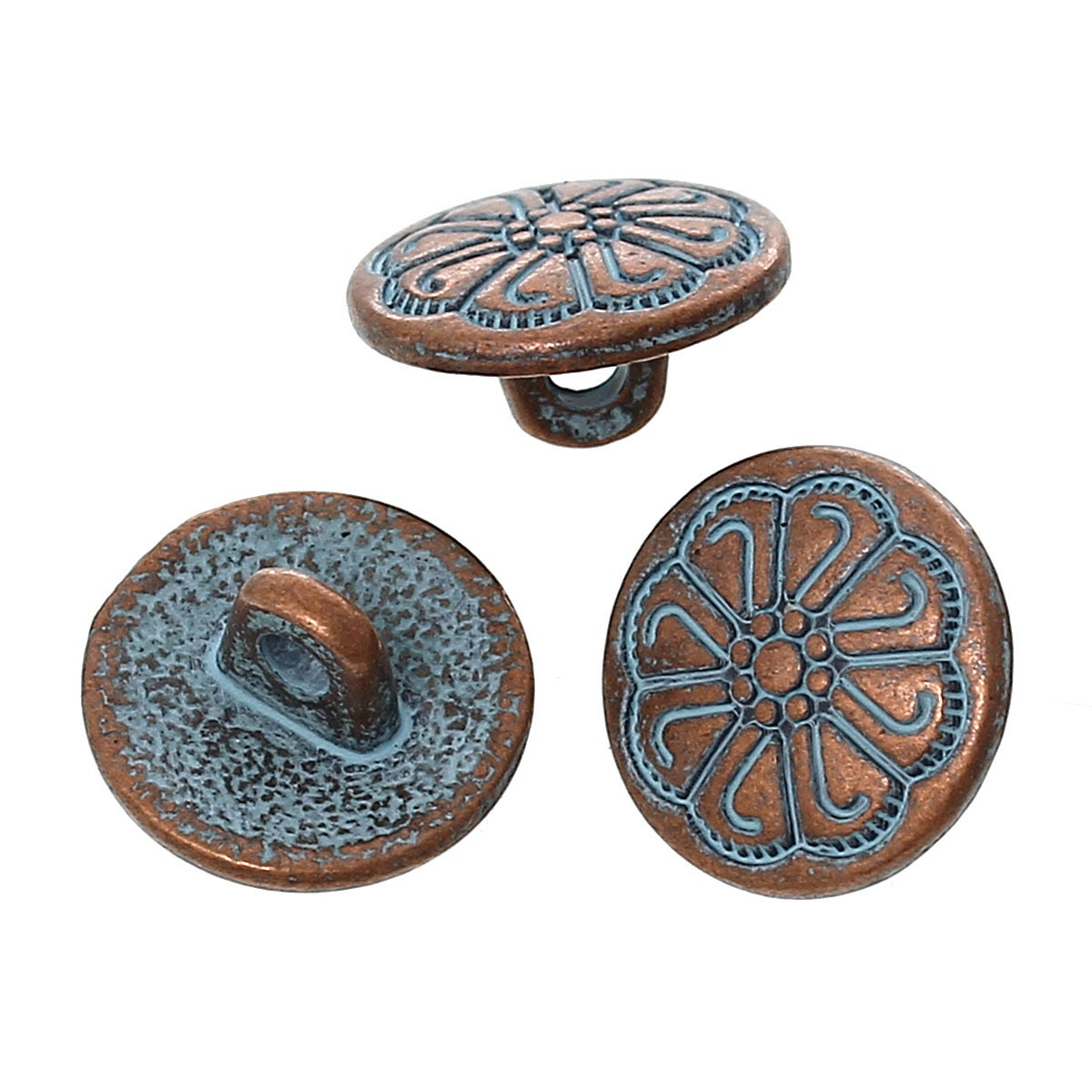 10 copper shank buttons 12mm 1 2 diameter antiqued for Buttons with shanks for jewelry