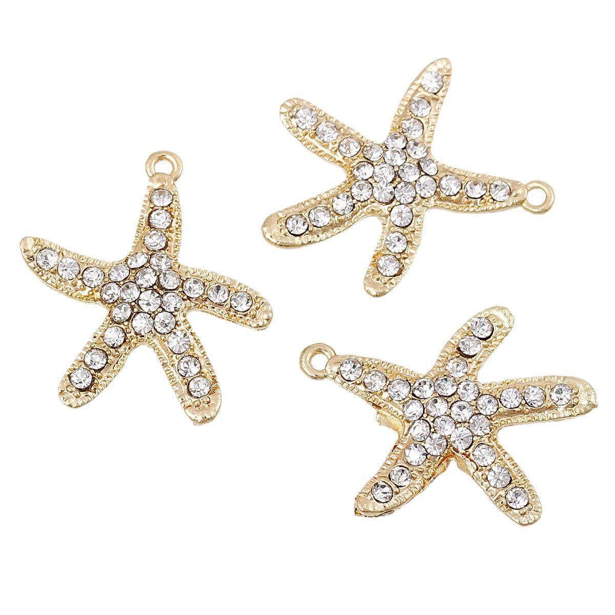 2 gold plated starfish charm pendants with rhinestones