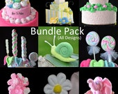 Topsy Turvy Diaper Cake Bundle Package (All 56 Designs), WashAgami ™