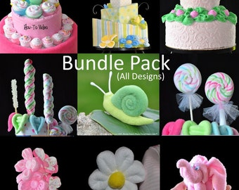 Topsy Turvy Diaper Cake Bundle Package (All 62 Designs), WashAgami ®, Diaper cake, Nappy Cake