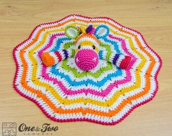 Rainbow Zebra Lovey / Security Blanket - PDF Crochet Pattern - Instant Download - Blankie Baby Blanket