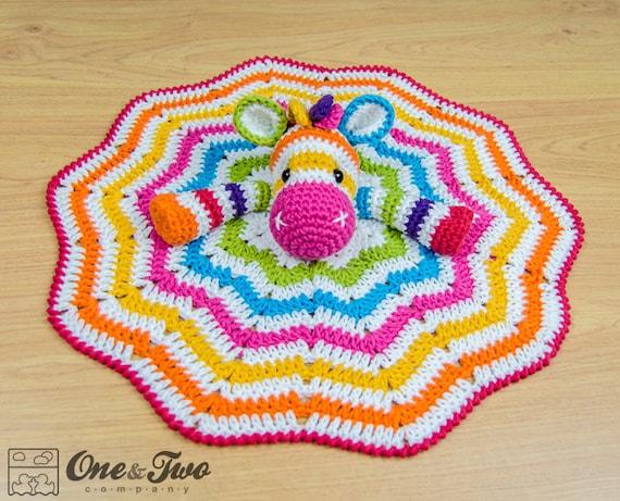 Rainbow Zebra Lovey Security Blanket Pdf Crochet Pattern