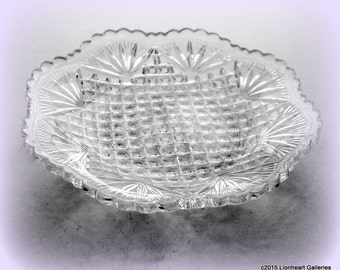 Pineapple & Fan Pattern Octagonal Serving Plate Vintage US Glass 1895 Victorian Serving Plate