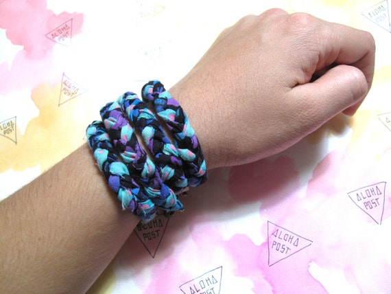 dotty/tie dye braided bracelet