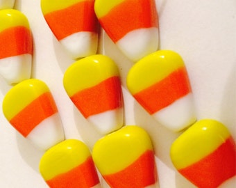 Candy Corn Glass Beads 10 Beads NOT EDIBLE..Yellow Orange White 15 x 12 x 7 mm