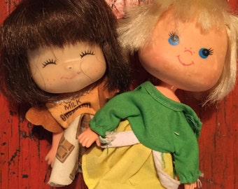 80s Lanard Jelly Bean Doll pair, 80s doll, Lucy Lemon doll, Chocolate Milk doll, vintage Strawberry Shortcake knockoffs -Ships Free