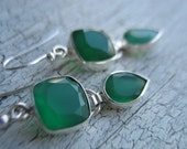 25% off Green Onyx  EARRINGS, Sterling Silver bezeled, dangle earrings, statement earrings