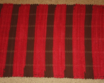 Handwoven Rag Rug - Deep Red and Chocolate Brown  - 40 inches....(#53)