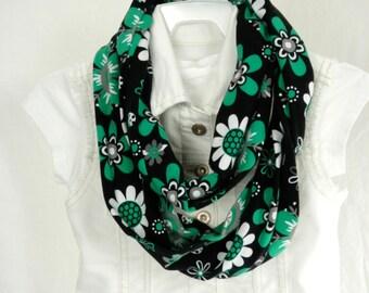 Girls Emerald Green Mod Flower Infinity Scarf Cotton Jersey  Loop Scarf Teen Fashion