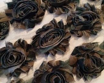 "Khaki Gray Camo Shabby Trim Shabby Rose Trim 2.5"" frayed Chiffon Flower Camouflage Printed Shabby Trim Wholesale Rosette trim 6cm yard"