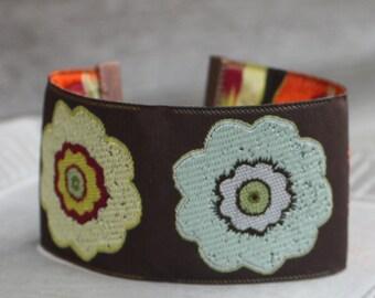 Big Flowers Embroidered Ribbon Cuff -Copper Findings - Adjustable bracelet, stacking bracelet, boho bracelet, bohemian bracelet, gypsy cuff