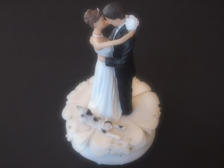 Cake Topper Wedding Ivory Black White Cat by ArtisanFeltStudio
