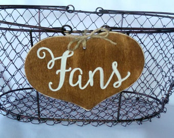 "Large Rustic Wedding ""Fans"" Sign  WITH WIRE BASKET for Your Rustic, Country, Shabby Chic Wedding-Bridal Showers- Graduation etc"