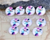 Circle Mickey Mouse Mini Peach Blue Handmade photo glass cabochon dome Beads 10mm 12mm  For Earring  Ring Brooch Necklace Bracelet