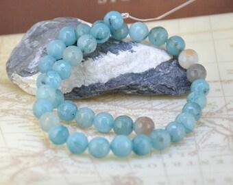 "Charm  Round Faceted Aquamarine 10mm Gemstone beads Loose One strand 15"""