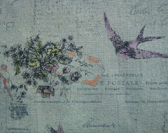 Birds and letters, pastel green, 1/2 yard, cotton linen blended fabric