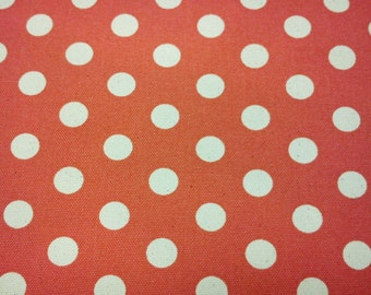 Ivory dots on orange, fat quarter, pure cotton canvas fabric