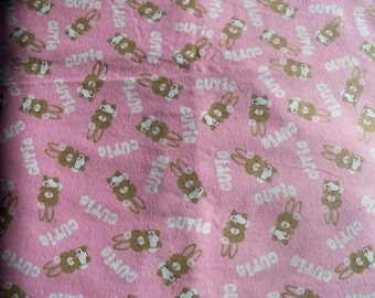 Pink Cutie Bunnies! Flannel by the yard