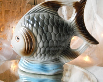 Large Gray and Brown Porcelain Fish Figurine Made in Brazil 1950s Vintage Fish Figurine Nautical Decor Collectibles
