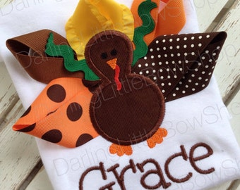 Baby Girl Thanksgiving Bodysuit -- Pretty Little Turkey -- Turkey bodysuit -- personalized and great for Thanksgiving