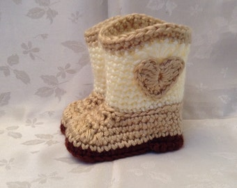 Tan and Off white Heart Crochet baby cowboy booties boots Made to Order Baby Cowgirl Booties Baby Girl Boots Infant Booties