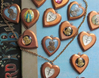 Vintage Heart Lockets With Religious Cabochons