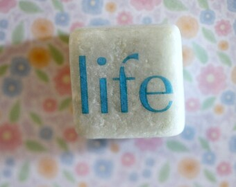 Life...small square stone magnet 3/4 x 3/4 cute inspirational sayings phrases words gift favors fridge