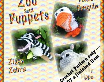 PDF Crochet Pattern Zoo Puppets Set 2