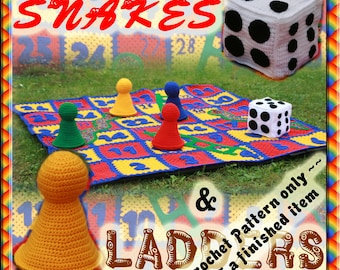 PDF Crochet Pattern Garden Sized Snakes and Ladders